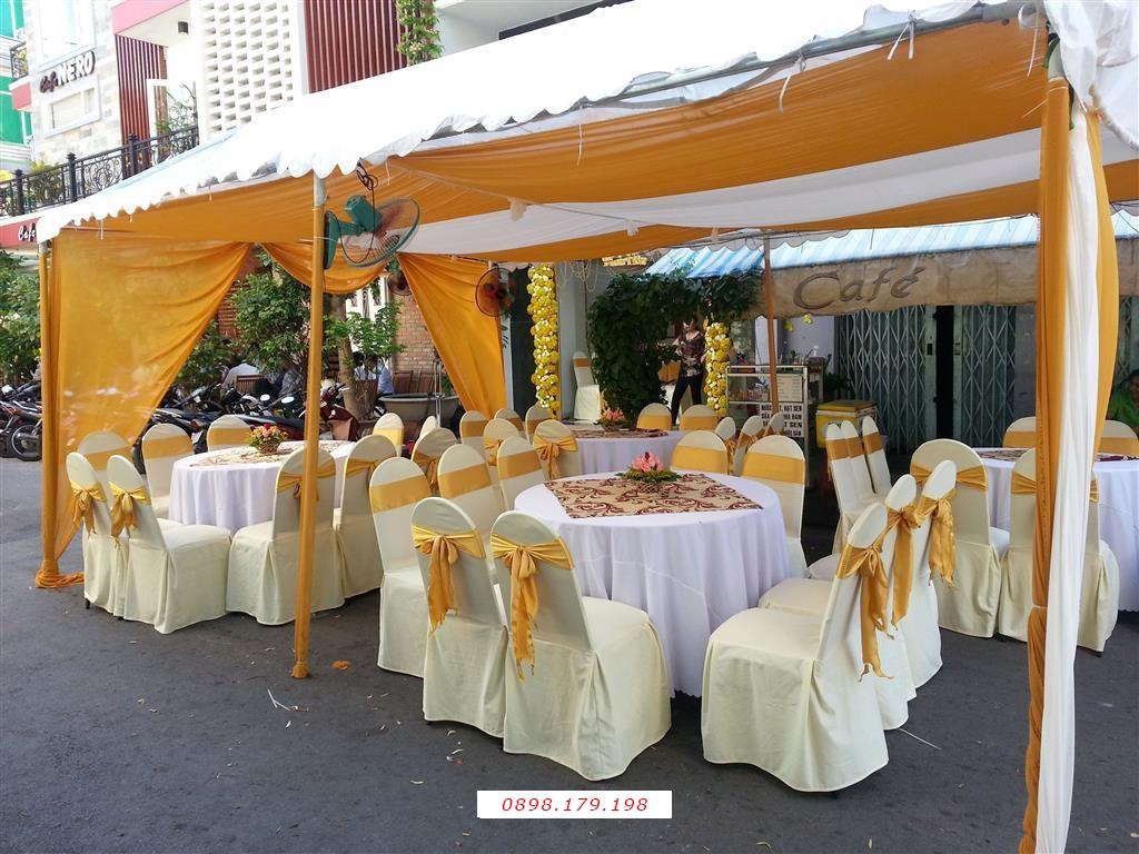 Dịch vụ cưới hỏi 24h trọn vẹn ngày vui chuyên trang trí nhà đám cưới hỏi và nhà hàng tiệc cưới | Nhà Bạt - khung rạp hai màu vàng trắng