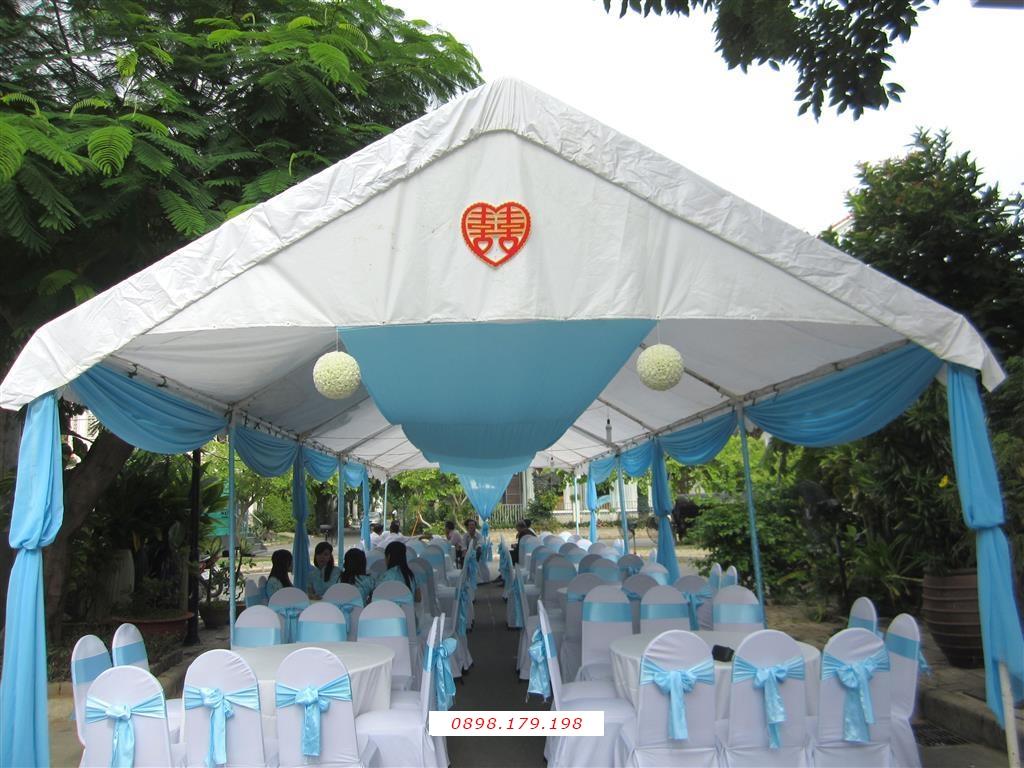 Dịch vụ cưới hỏi 24h trọn vẹn ngày vui chuyên trang trí nhà đám cưới hỏi và nhà hàng tiệc cưới | Nhà Bạt - khung rạp mẫu xanh biển