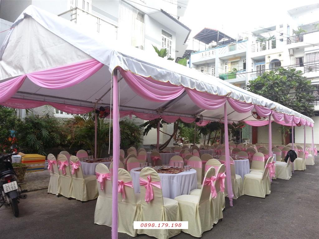 Dịch vụ cưới hỏi 24h trọn vẹn ngày vui chuyên trang trí nhà đám cưới hỏi và nhà hàng tiệc cưới | Nhà tiệc khung rạp cưới tông kem hồng phấn nhã nhặn