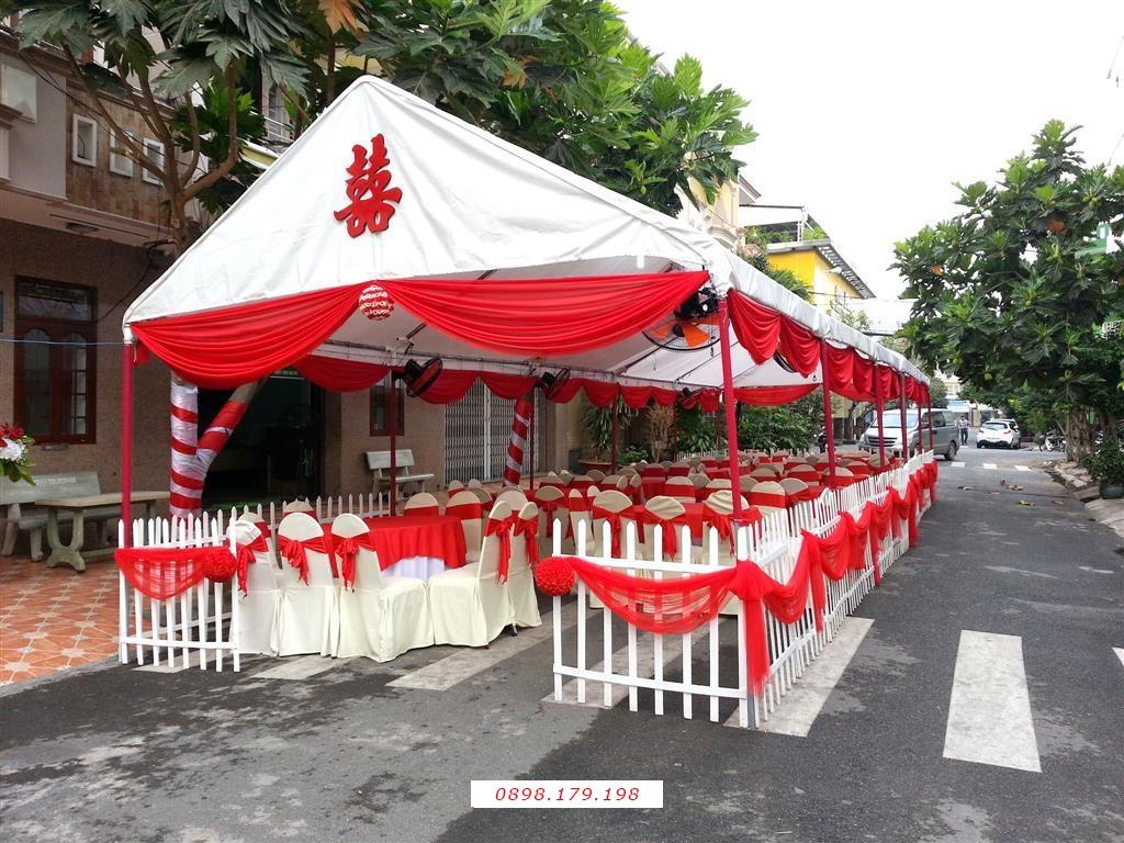 Dịch vụ cưới hỏi 24h trọn vẹn ngày vui chuyên trang trí nhà đám cưới hỏi và nhà hàng tiệc cưới | Nhà tiệc rạp cưới hàng rào voan trắng đỏ