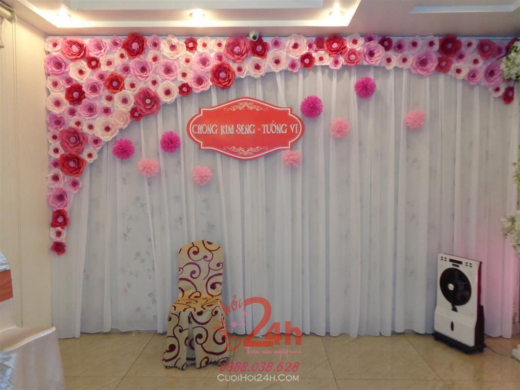 Dịch vụ cưới hỏi 24h trọn vẹn ngày vui chuyên trang trí nhà đám cưới hỏi và nhà hàng tiệc cưới | Phông cưới - Backdrop cùng hoa giấy tông hồng