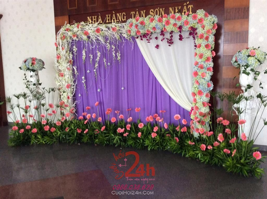 Dịch vụ cưới hỏi 24h trọn vẹn ngày vui chuyên trang trí nhà đám cưới hỏi và nhà hàng tiệc cưới | Phông cưới - Backdrop tông tím