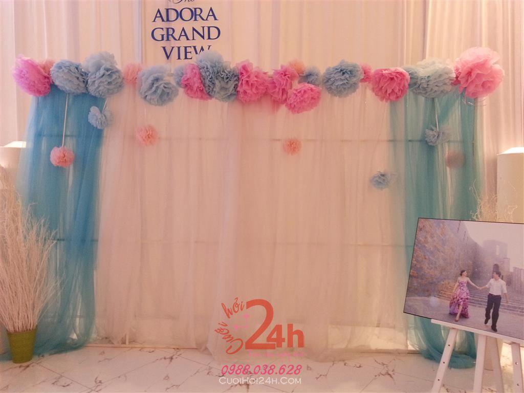 Dịch vụ cưới hỏi 24h trọn vẹn ngày vui chuyên trang trí nhà đám cưới hỏi và nhà hàng tiệc cưới | Phông cưới - Backdrop tông xanh và trắng