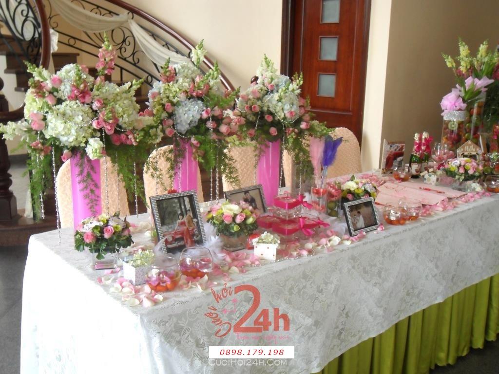 Dịch vụ cưới hỏi 24h trọn vẹn ngày vui chuyên trang trí nhà đám cưới hỏi và nhà hàng tiệc cưới | Trang trí bàn ký tên 02