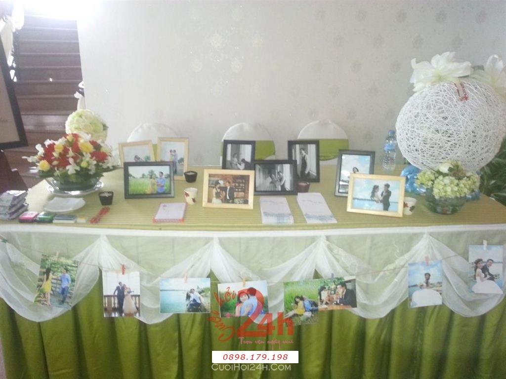 Dịch vụ cưới hỏi 24h trọn vẹn ngày vui chuyên trang trí nhà đám cưới hỏi và nhà hàng tiệc cưới | Trang trí bàn ký tên 18