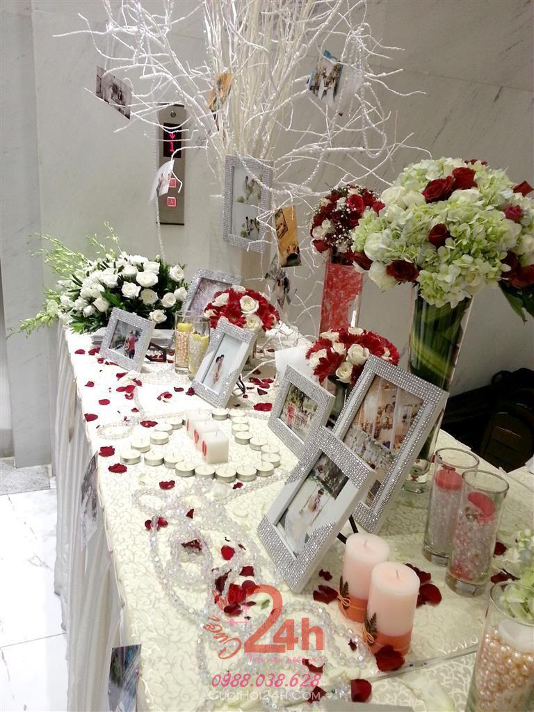 Dịch vụ cưới hỏi 24h trọn vẹn ngày vui chuyên trang trí nhà đám cưới hỏi và nhà hàng tiệc cưới | Trang trí bàn ký tên ấn tượng