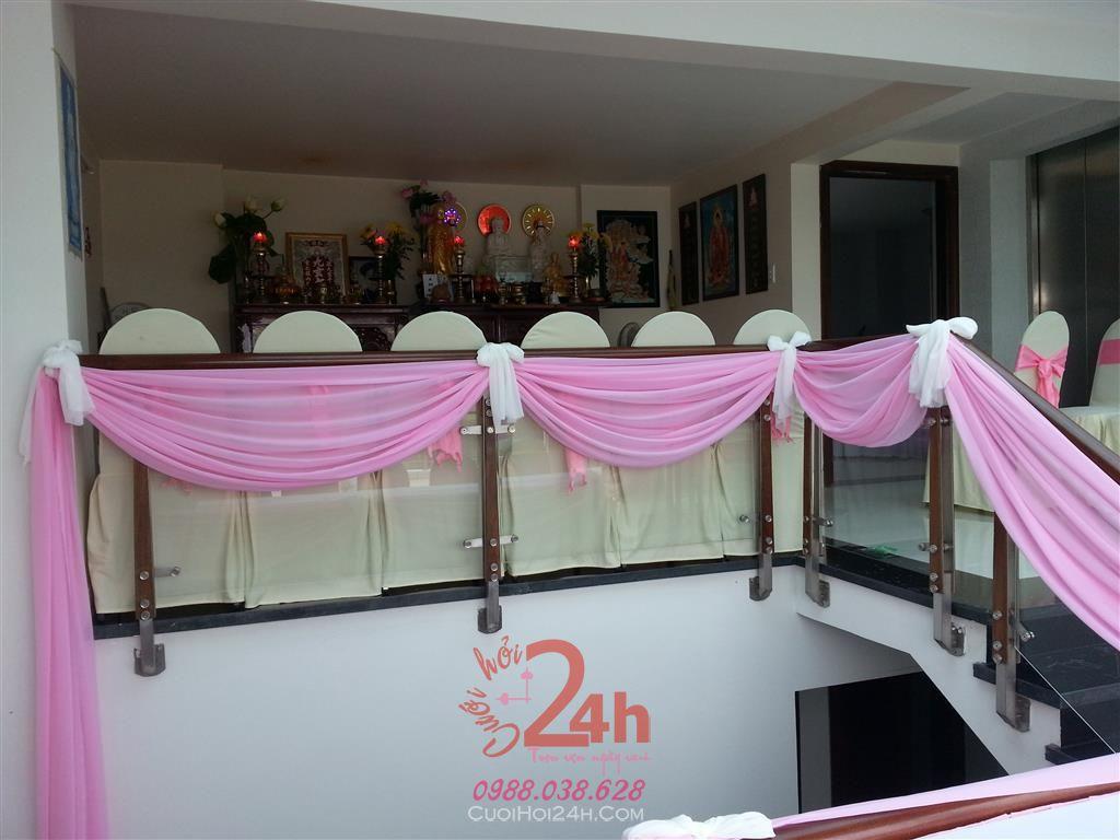 Dịch vụ cưới hỏi 24h trọn vẹn ngày vui chuyên trang trí nhà đám cưới hỏi và nhà hàng tiệc cưới | Trang trí cầu thang 03