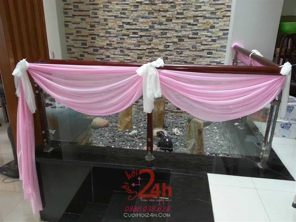Dịch vụ cưới hỏi 24h trọn vẹn ngày vui chuyên trang trí nhà đám cưới hỏi và nhà hàng tiệc cưới | Trang trí cầu thang 04