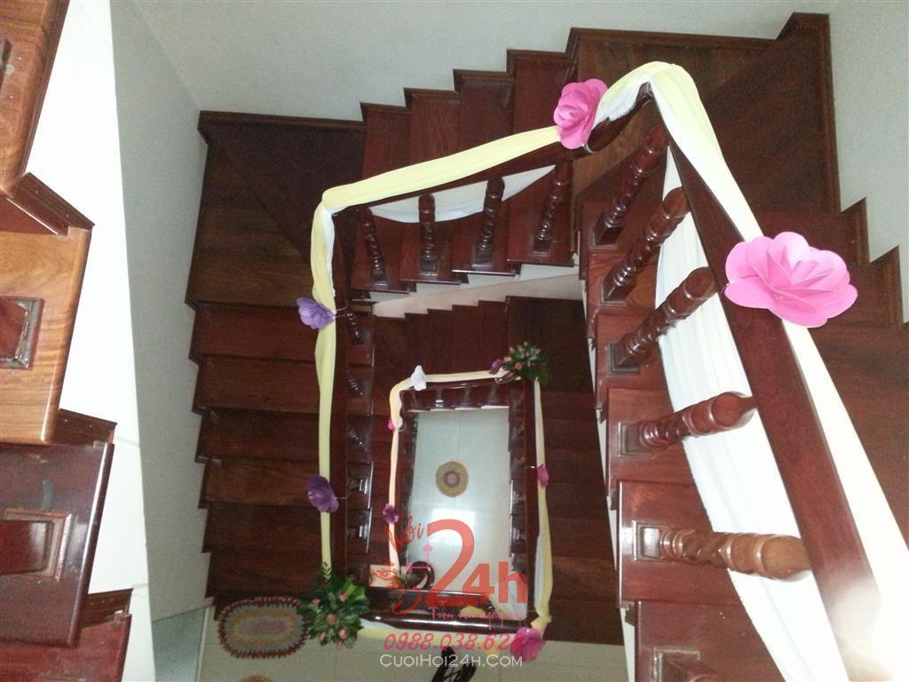 Dịch vụ cưới hỏi 24h trọn vẹn ngày vui chuyên trang trí nhà đám cưới hỏi và nhà hàng tiệc cưới | Trang trí cầu thang 07