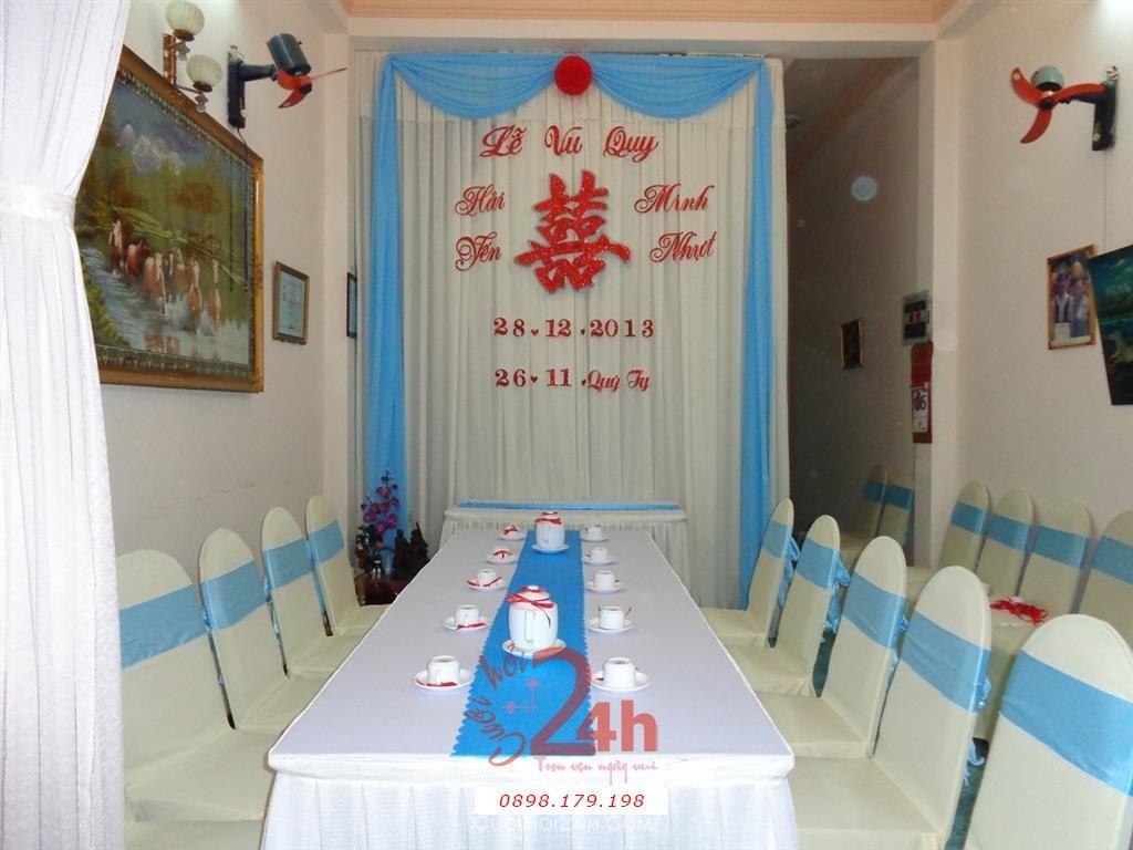 Dịch vụ cưới hỏi 24h trọn vẹn ngày vui chuyên trang trí nhà đám cưới hỏi và nhà hàng tiệc cưới | Trang trí cưới hỏi tông xanh ngọc nhẹ nhàng