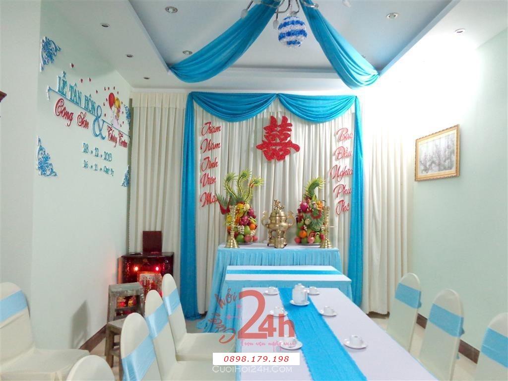 Dịch vụ cưới hỏi 24h trọn vẹn ngày vui chuyên trang trí nhà đám cưới hỏi và nhà hàng tiệc cưới | Trang trí cưới hỏi tông xanh ngọc và trắng