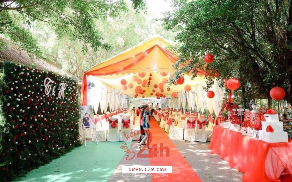 Dịch vụ cưới hỏi 24h trọn vẹn ngày vui chuyên trang trí nhà đám cưới hỏi và nhà hàng tiệc cưới | Trang trí đám cưới sân vườn