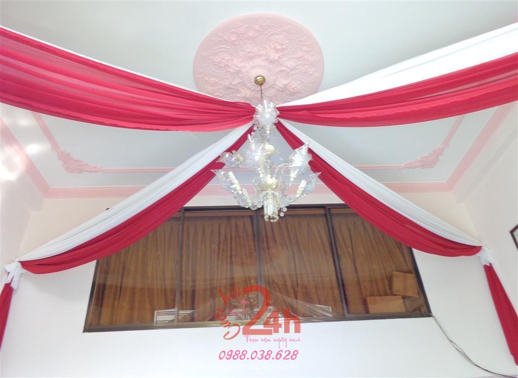 Dịch vụ cưới hỏi 24h trọn vẹn ngày vui chuyên trang trí nhà đám cưới hỏi và nhà hàng tiệc cưới | Trang trí đèn chùm tông đỏ