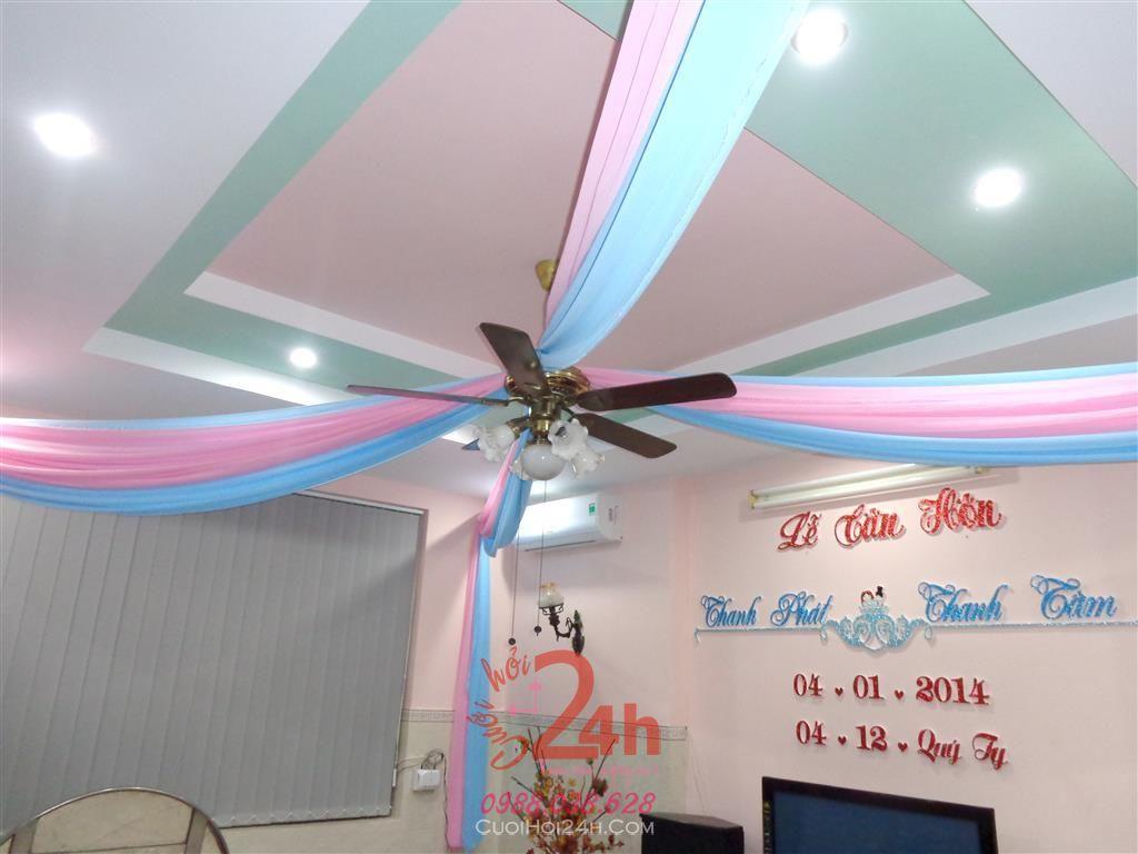 Dịch vụ cưới hỏi 24h trọn vẹn ngày vui chuyên trang trí nhà đám cưới hỏi và nhà hàng tiệc cưới | Trang trí đèn chùm tông hồng và xanh