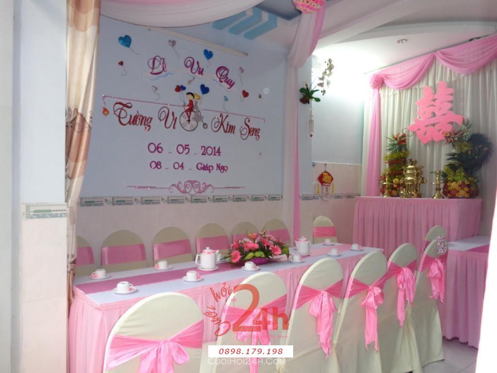 Dịch vụ cưới hỏi 24h trọn vẹn ngày vui chuyên trang trí nhà đám cưới hỏi và nhà hàng tiệc cưới | Trang trí nhà cưới hỏi tông hồng chữ song hỷ và cặp long phụng