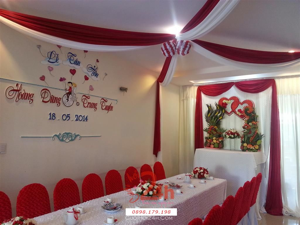 Dịch vụ cưới hỏi 24h trọn vẹn ngày vui chuyên trang trí nhà đám cưới hỏi và nhà hàng tiệc cưới | Trang trí nhà cưới hỏi tông màu đỏ đẹp