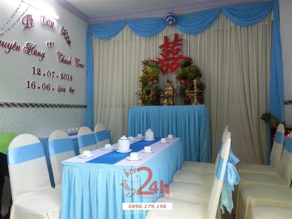 Dịch vụ cưới hỏi 24h trọn vẹn ngày vui chuyên trang trí nhà đám cưới hỏi và nhà hàng tiệc cưới | Trang trí nhà cưới hỏi tông xanh dương
