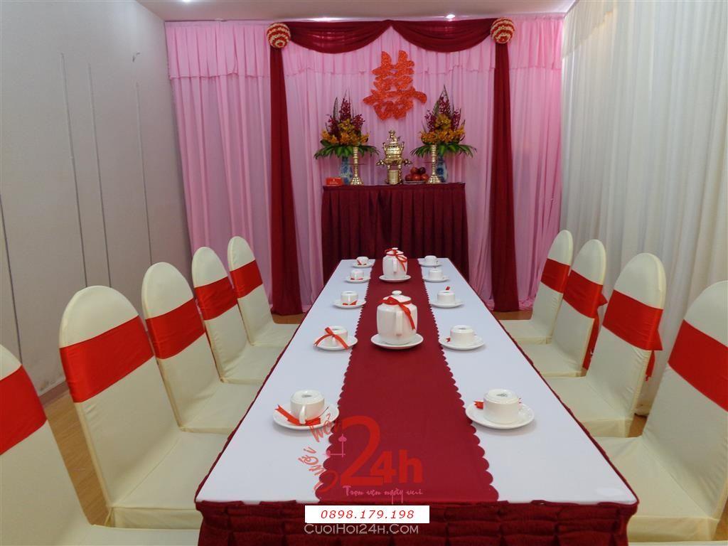 Dịch vụ cưới hỏi 24h trọn vẹn ngày vui chuyên trang trí nhà đám cưới hỏi và nhà hàng tiệc cưới | Trang trí nhà cưới tông đỏ và hồng sang trọng