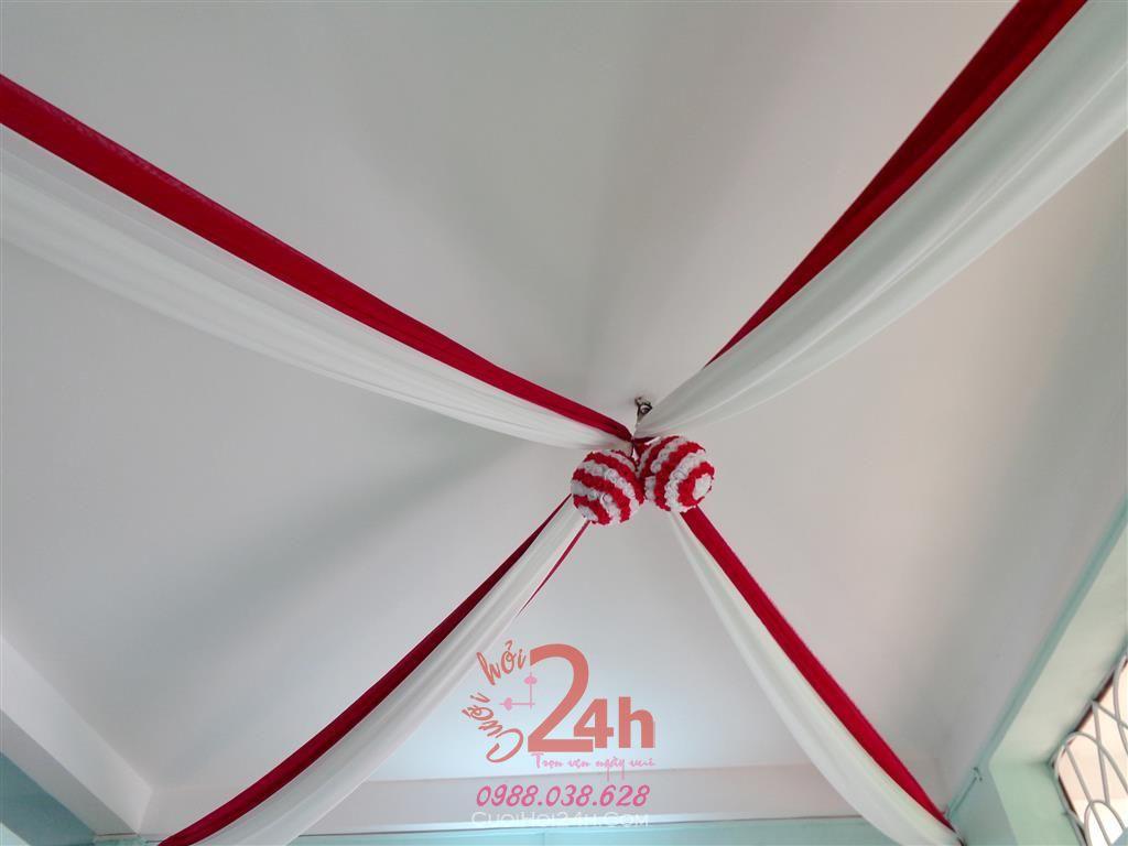 Dịch vụ cưới hỏi 24h trọn vẹn ngày vui chuyên trang trí nhà đám cưới hỏi và nhà hàng tiệc cưới | Trang trí trái châu tông đỏ ấn tượng