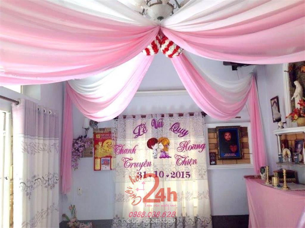 Dịch vụ cưới hỏi 24h trọn vẹn ngày vui chuyên trang trí nhà đám cưới hỏi và nhà hàng tiệc cưới | Trang trí trái châu tông đỏ và hồng