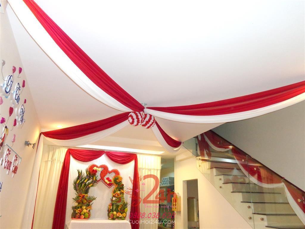 Dịch vụ cưới hỏi 24h trọn vẹn ngày vui chuyên trang trí nhà đám cưới hỏi và nhà hàng tiệc cưới | Trang trí trái châu tông đỏ
