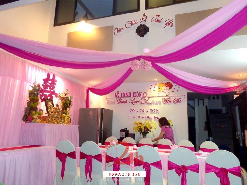 Dịch vụ cưới hỏi 24h trọn vẹn ngày vui chuyên trang trí nhà đám cưới hỏi và nhà hàng tiệc cưới | Trang trí trái châu tông hồng đậm