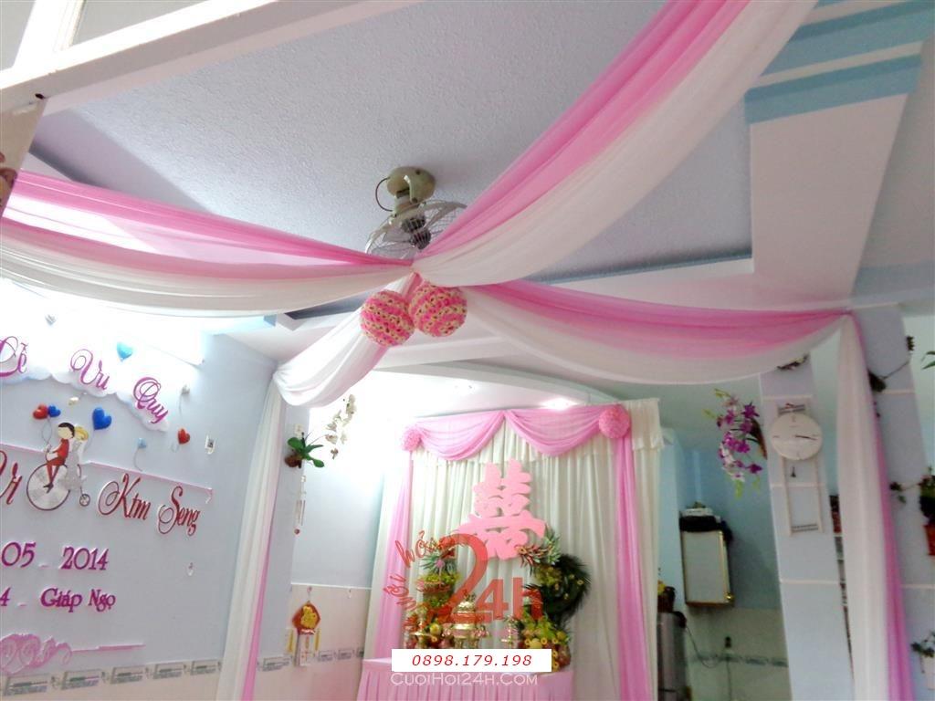 Dịch vụ cưới hỏi 24h trọn vẹn ngày vui chuyên trang trí nhà đám cưới hỏi và nhà hàng tiệc cưới | Trang trí trái châu tông hồng