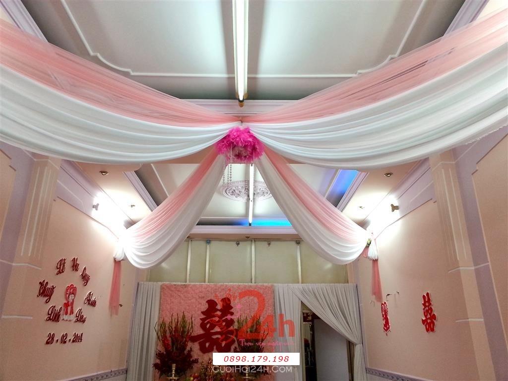 Dịch vụ cưới hỏi 24h trọn vẹn ngày vui chuyên trang trí nhà đám cưới hỏi và nhà hàng tiệc cưới | Trang trí trần nhà tông hồng