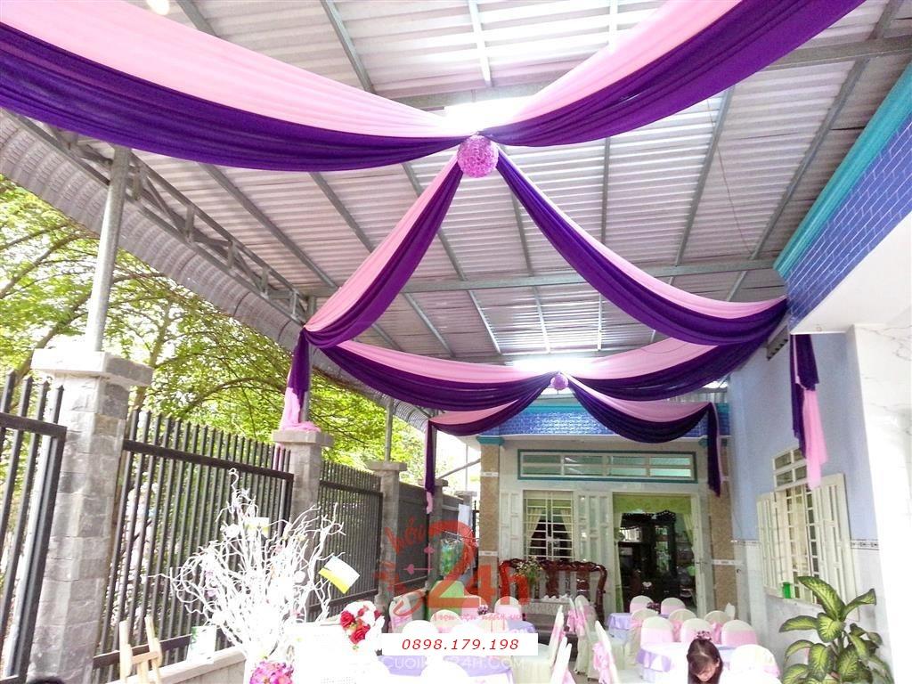 Dịch vụ cưới hỏi 24h trọn vẹn ngày vui chuyên trang trí nhà đám cưới hỏi và nhà hàng tiệc cưới | Trang trí voan trần nhà tím hồng