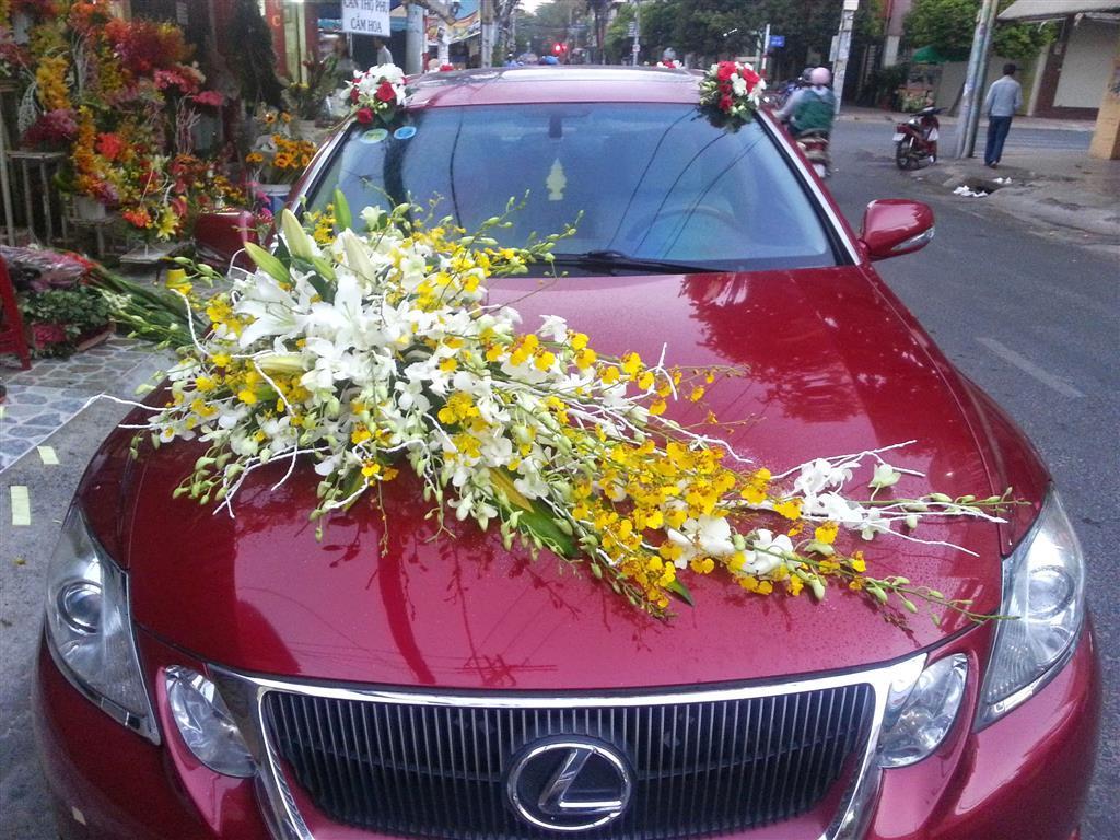 Dịch vụ cưới hỏi 24h trọn vẹn ngày vui chuyên trang trí nhà đám cưới hỏi và nhà hàng tiệc cưới | Xe cưới màu đỏ đô kết hoa lan trắng vàng nổi bật