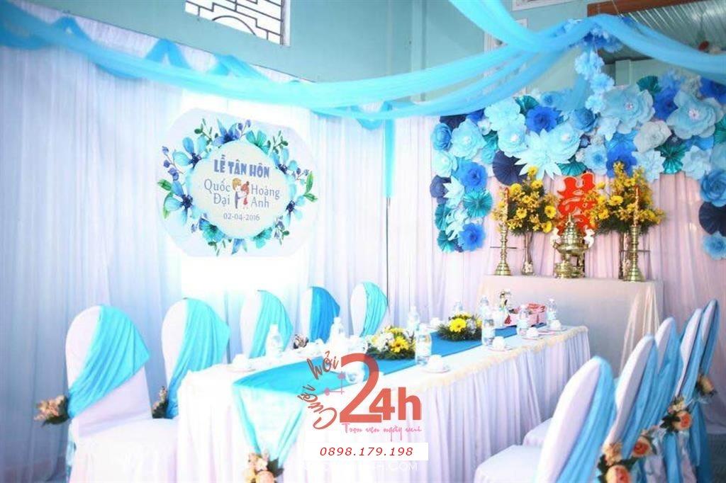 Dịch vụ cưới hỏi 24h trọn vẹn ngày vui chuyên trang trí nhà đám cưới hỏi và nhà hàng tiệc cưới | Trang trí nhà cưới hỏi tông trắng xanh ngọc
