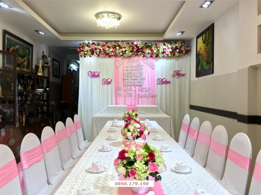 Dịch vụ cưới hỏi 24h trọn vẹn ngày vui chuyên trang trí nhà đám cưới hỏi và nhà hàng tiệc cưới | Trang trí nhà cưới hỏi tông trắng hồng ngọt ngào