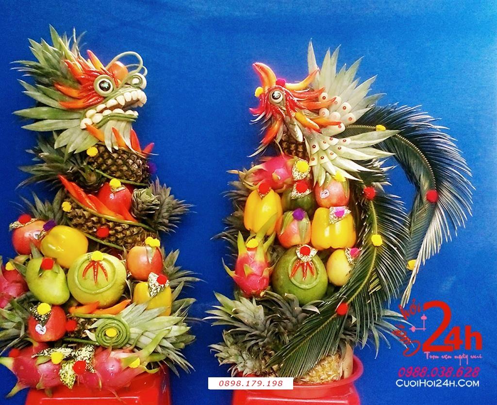 Dịch vụ cưới hỏi 24h trọn vẹn ngày vui chuyên trang trí nhà đám cưới hỏi và nhà hàng tiệc cưới | Dịch vụ cho thuê cặp rồng phụng trái cây tươi ngày đám cưới