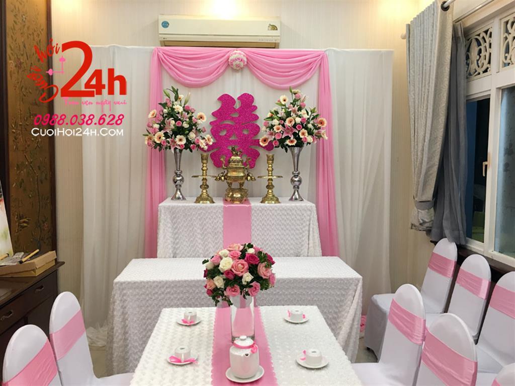 Dịch vụ cưới hỏi 24h trọn vẹn ngày vui chuyên trang trí nhà đám cưới hỏi và nhà hàng tiệc cưới | Trang trí bàn gia tiên voan trắng hồng phấn mềm mại