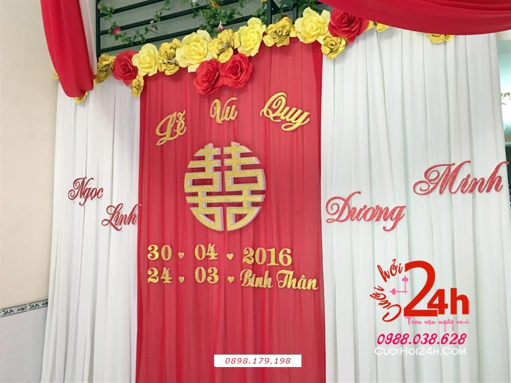 Dịch vụ cưới hỏi 24h trọn vẹn ngày vui chuyên trang trí nhà đám cưới hỏi và nhà hàng tiệc cưới | Phông cưới voan mái kết hoa giấy đỏ vàng