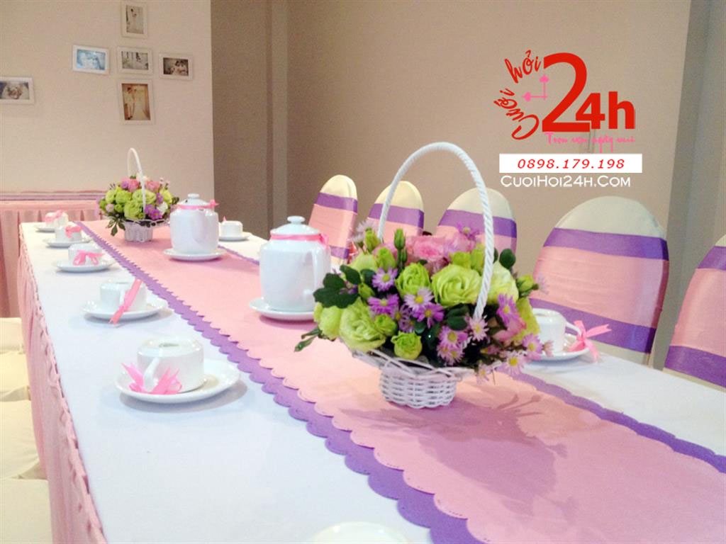 Dịch vụ cưới hỏi 24h trọn vẹn ngày vui chuyên trang trí nhà đám cưới hỏi và nhà hàng tiệc cưới | Trang trí nhà cưới hỏi tông tím hồng