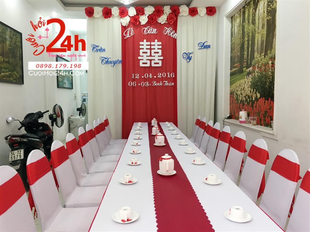 Dịch vụ cưới hỏi 24h trọn vẹn ngày vui chuyên trang trí nhà đám cưới hỏi và nhà hàng tiệc cưới | Trang trí nhà cưới hỏi tông trắng đỏ nổi bật
