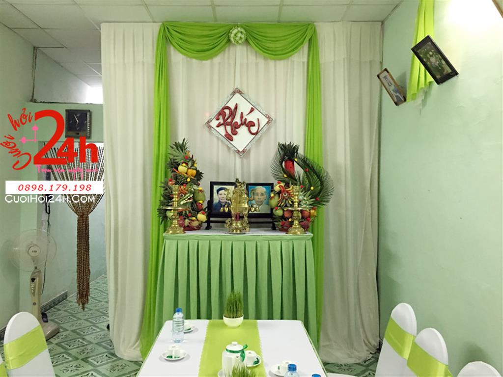 Dịch vụ cưới hỏi 24h trọn vẹn ngày vui chuyên trang trí nhà đám cưới hỏi và nhà hàng tiệc cưới | Trang trí nhà cưới hỏi tông trắng xanh lá cây