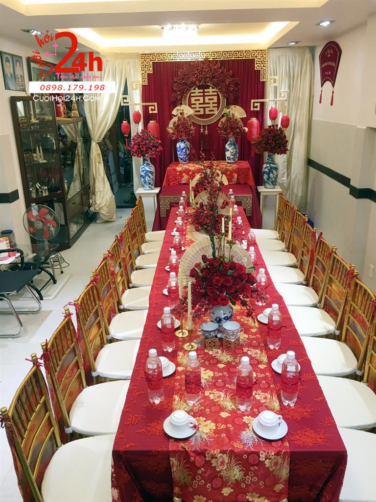 Dịch vụ cưới hỏi 24h trọn vẹn ngày vui chuyên trang trí nhà đám cưới hỏi và nhà hàng tiệc cưới | Trang trí nhà cưới tông màu đỏ đô