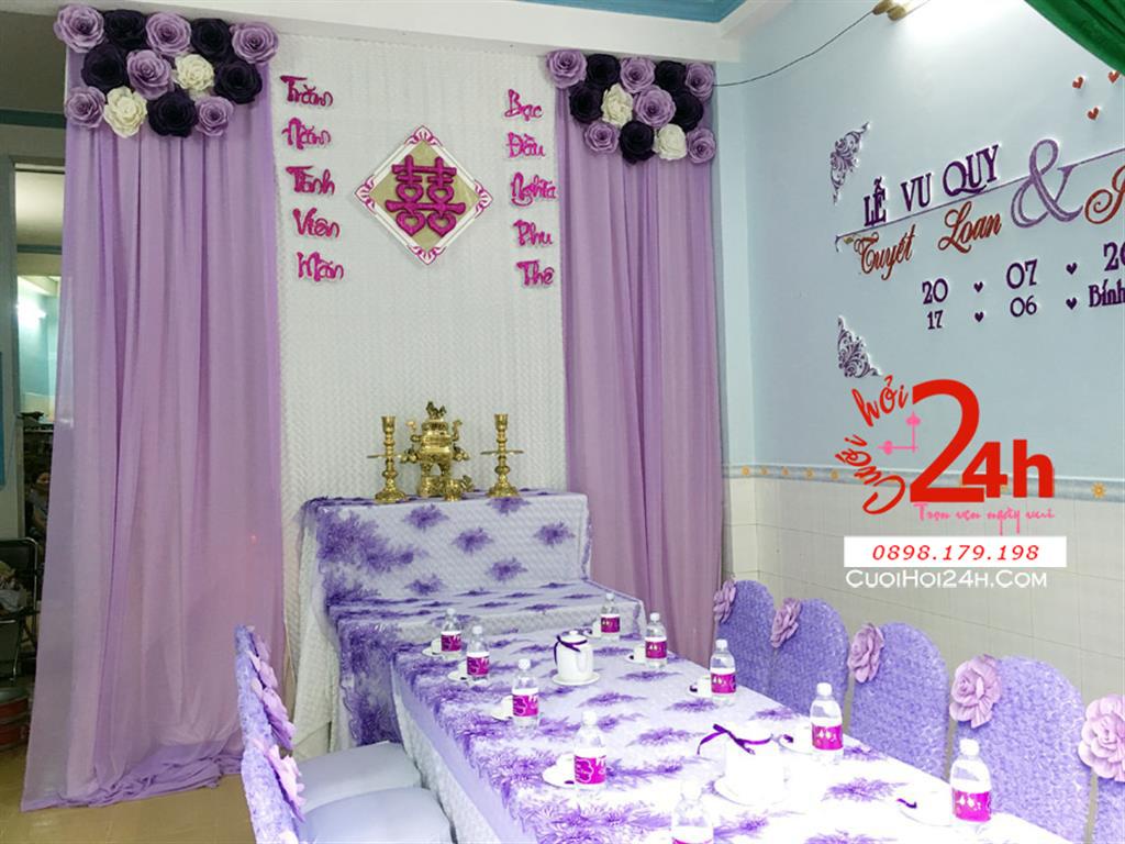 Dịch vụ cưới hỏi 24h trọn vẹn ngày vui chuyên trang trí nhà đám cưới hỏi và nhà hàng tiệc cưới | Trang trí nhà cưới tông tím lãng mạn
