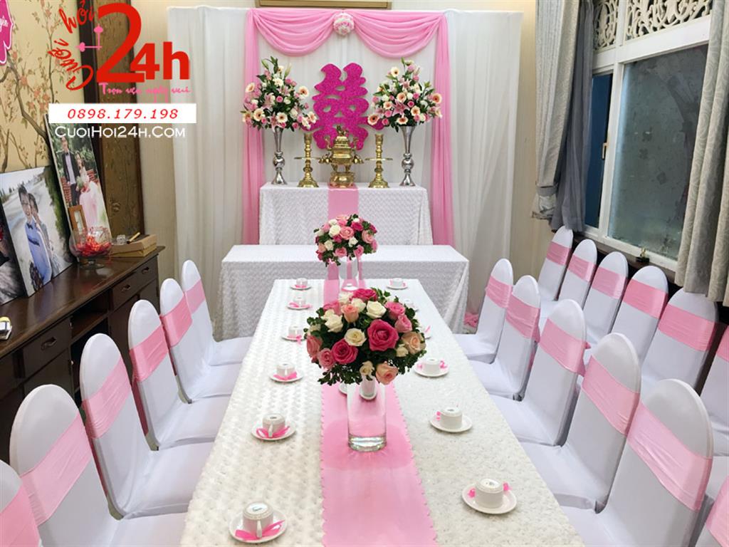 Dịch vụ cưới hỏi 24h trọn vẹn ngày vui chuyên trang trí nhà đám cưới hỏi và nhà hàng tiệc cưới | Trang trí nhà cưới vải hoa hồng trắng hồng