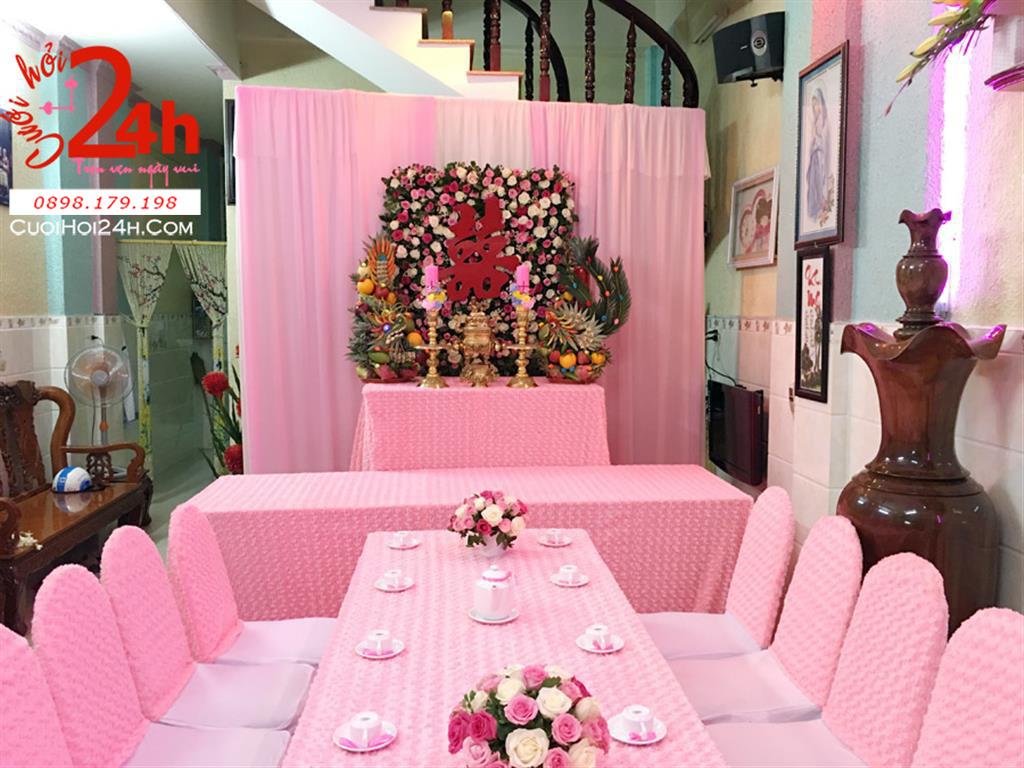 Dịch vụ cưới hỏi 24h trọn vẹn ngày vui chuyên trang trí nhà đám cưới hỏi và nhà hàng tiệc cưới | Trang trí nhà cưới với vải hoa hồng sang trọng