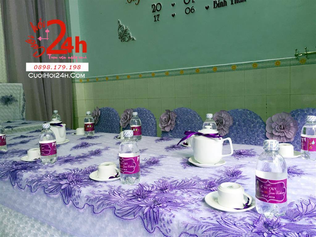 Dịch vụ cưới hỏi 24h trọn vẹn ngày vui chuyên trang trí nhà đám cưới hỏi và nhà hàng tiệc cưới | Trang trí nhà cưới với vải hoa hồng và ren tím