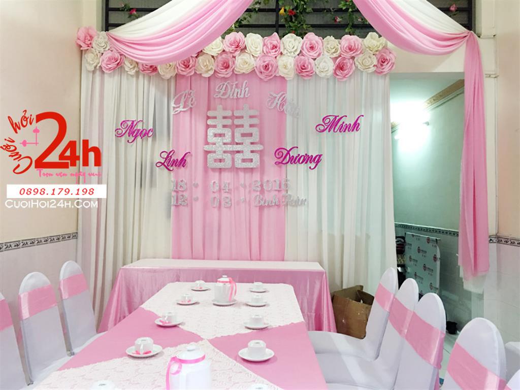 Dịch vụ cưới hỏi 24h trọn vẹn ngày vui chuyên trang trí nhà đám cưới hỏi và nhà hàng tiệc cưới | Trang trí nhà ngày cưới tông trắng hồng phấn mái kết hoa giấy