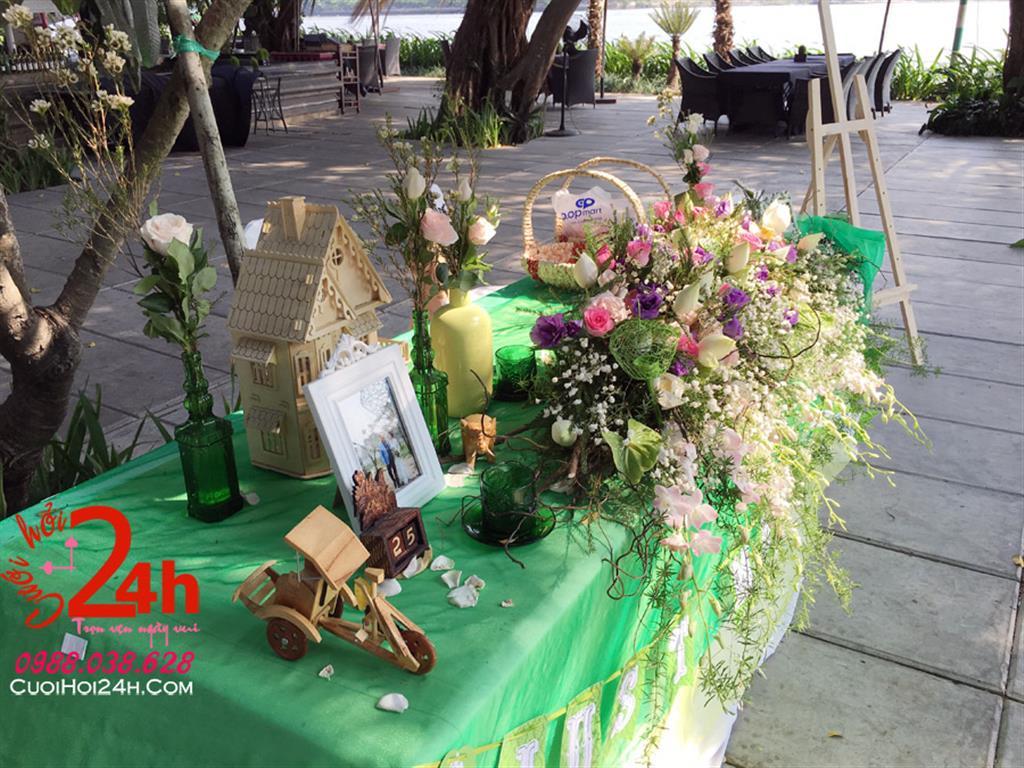 Dịch vụ cưới hỏi 24h trọn vẹn ngày vui chuyên trang trí nhà đám cưới hỏi và nhà hàng tiệc cưới | Bàn ký tên ngày cưới tông xanh lá cây (1)