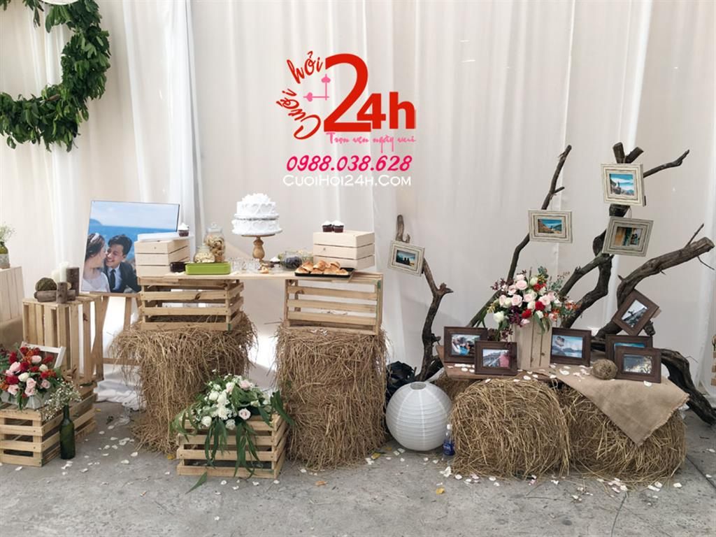 Dịch vụ cưới hỏi 24h trọn vẹn ngày vui chuyên trang trí nhà đám cưới hỏi và nhà hàng tiệc cưới | Trang trí bàn ký tên phong cách rustic