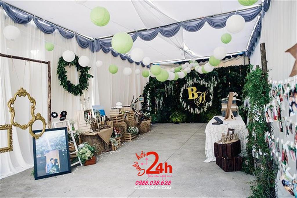 Dịch vụ cưới hỏi 24h trọn vẹn ngày vui chuyên trang trí nhà đám cưới hỏi và nhà hàng tiệc cưới | Trang trí sân khấu ngày cưới tông xanh