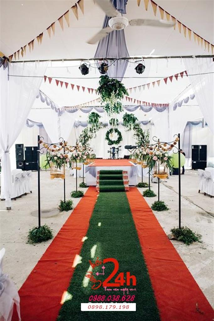 Dịch vụ cưới hỏi 24h trọn vẹn ngày vui chuyên trang trí nhà đám cưới hỏi và nhà hàng tiệc cưới | Trang trí sân khấu tông xanh tươi mát