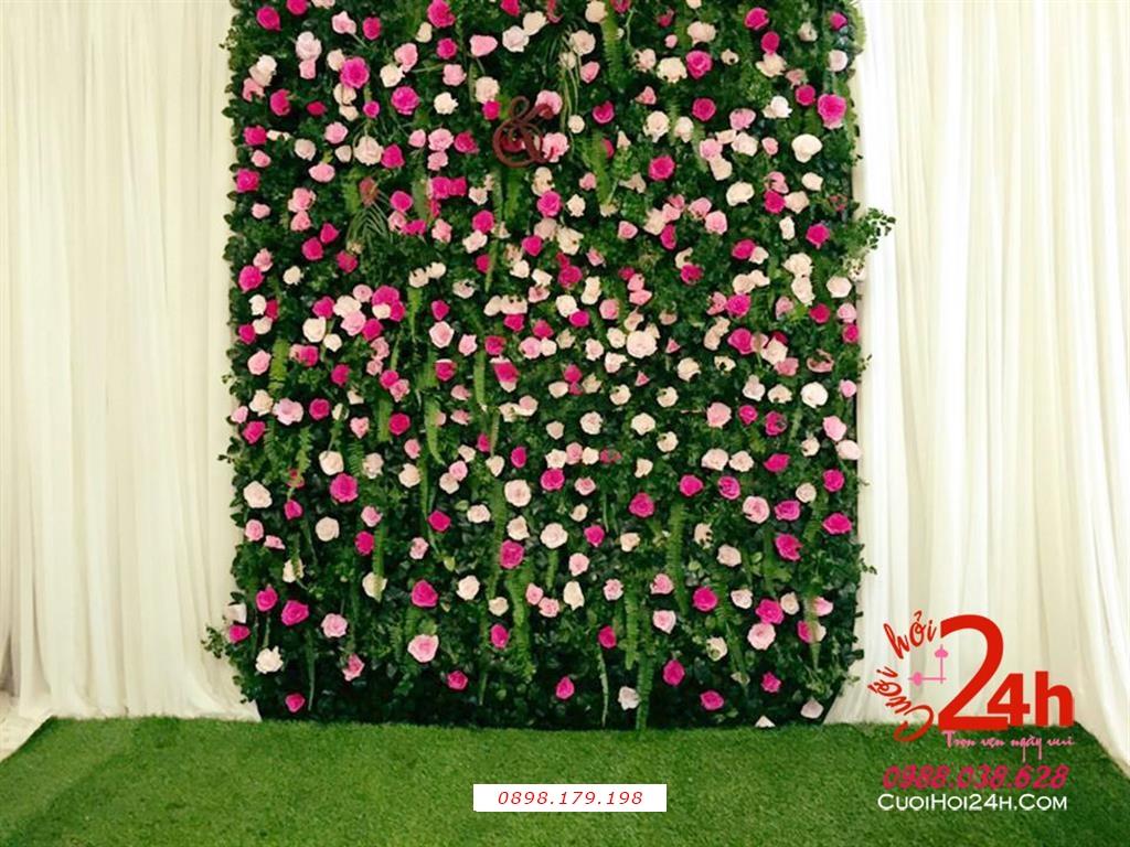 Dịch vụ cưới hỏi 24h trọn vẹn ngày vui chuyên trang trí nhà đám cưới hỏi và nhà hàng tiệc cưới | Backdrop hoa tươi ngày cưới nổi bật