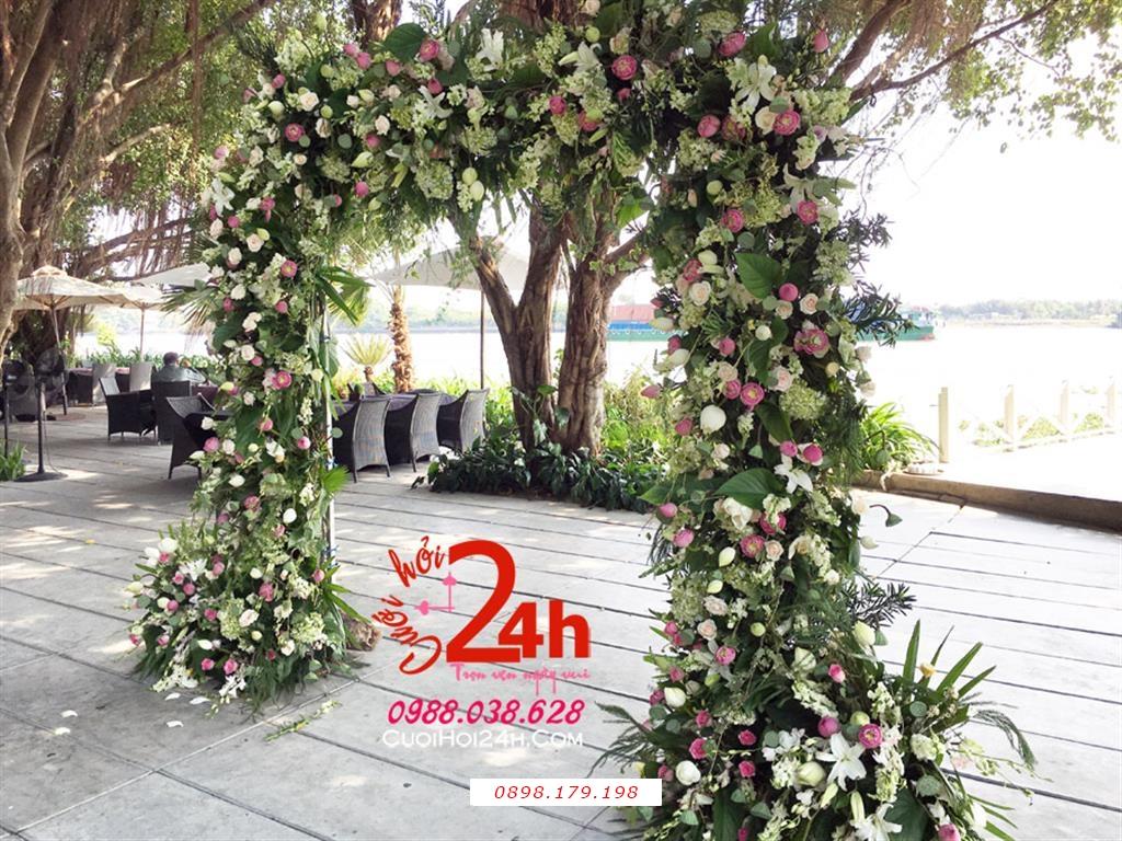Dịch vụ cưới hỏi 24h trọn vẹn ngày vui chuyên trang trí nhà đám cưới hỏi và nhà hàng tiệc cưới | Cổng hoa tươi phong cách rustic